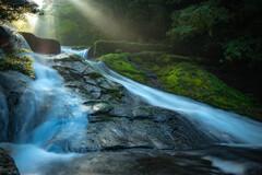 光芒の菊池渓谷
