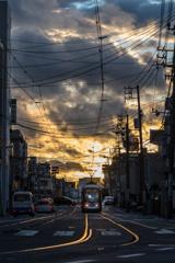 夕焼けの路面電車 1