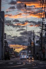 夕焼けの路面電車 2