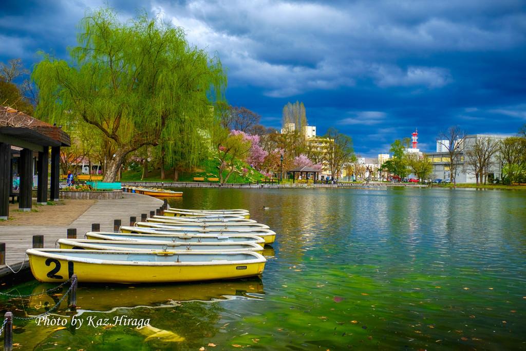 旭川市常磐公園、ボートのある風景