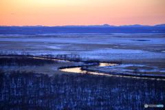 釧路湿原の日没
