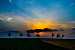 夕景 女満別の丘