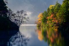 朝靄の大沼池