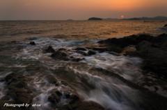 西浦海岸の夕暮れ