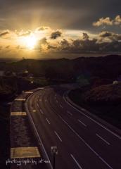 夕陽へと続く道2