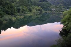 わたらせ水鏡の夕焼け