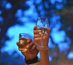 toast to blue night.