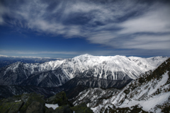 青空と笠ヶ岳