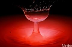 水のグラス No.2~ワインレッド~