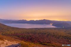支笏湖の夕日