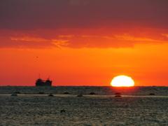 だるま夕日の後 播磨灘