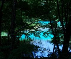青い沼を臨む