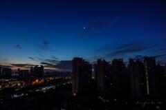 morning glow in shanghai city
