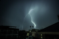 rain and lightning in midnight