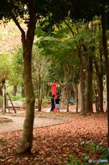 赤いブランコのある公園