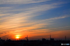 巻層雲に夕焼け