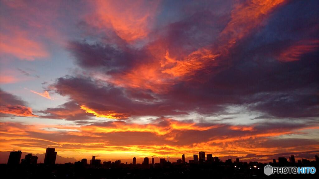 秋分の日の夕焼け