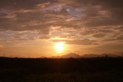 益城町の夕日