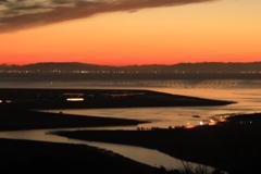 夜明け前有明海