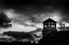 Dark clouds on the tower