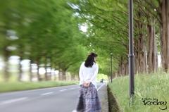 Beautiful woman walking the street trees