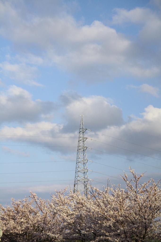 春の鉄塔、さすらいの雲