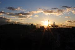 仕事中、差し込む夕陽。