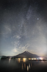 Milky way hanging to Mt. Fuji.