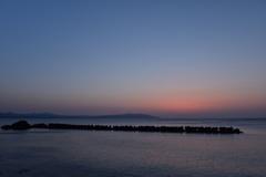 岩屋海岸の日没後