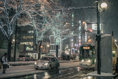 雪降る札幌