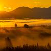 朝霧と日の出。