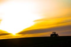 春の夕暮れ、農家の仕事始め。