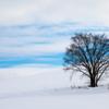 雪の丘、空と雲。
