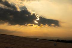 麦稈ロールのある夕暮れ w/ PM2.5