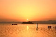 竹生島 落陽
