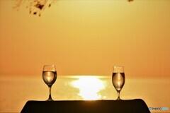 グラスの中の夕陽