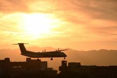 夕陽の中の着陸