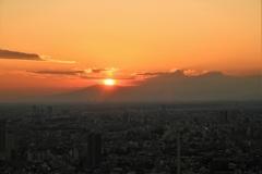 都会の夕焼け