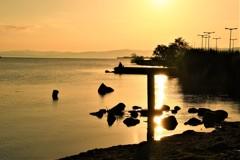 夕陽を待つ二人