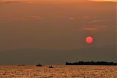 まっ赤な夕陽