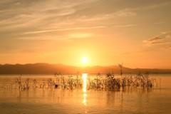 琵琶湖 一途な夕暮れ