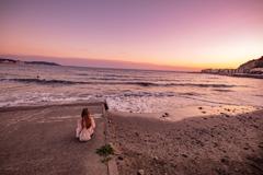 由比ヶ浜の夕暮れ