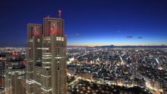都庁と遠くに見える富士山