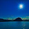 指月山の上に光芒 (山口県萩市)