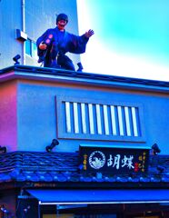 古着屋さんの屋上に鼠小僧 (浅草 伝法院通り)