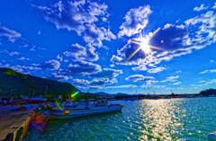光芒と奈古漁港② (山口県 阿武町 )
