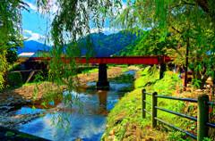 柳と鉄橋の情景 (島根県 津和野)