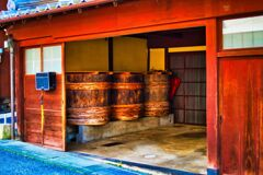 木樽のある風景 (山口県萩市 浜崎 )