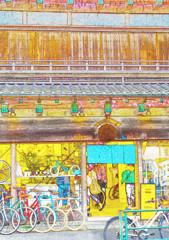 tokyobike gallery谷中さん スケッチ風に  (台東区 谷中)