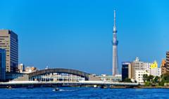 月島より隅田川を望む
